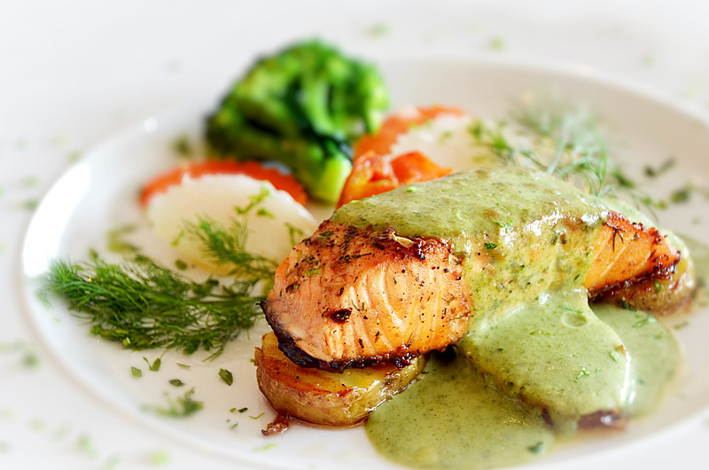 Roasted salmon topped with Smarter Naturally ™ soup sauce
